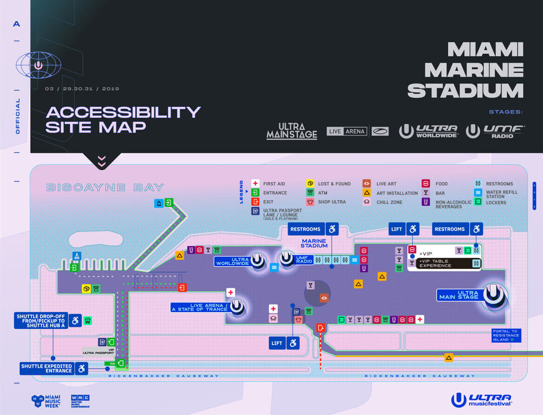accessible site map - ultra music festival